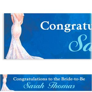 Custom Bride in Gown Dark Bridal Shower Banner 6ft