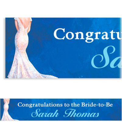 Bride in Gown Dark Custom Bridal Shower Banner