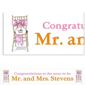 Custom Mr. And Mrs. Right Bridal Shower Banner 6ft