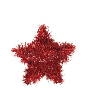 Tinsel Red Star Decoration
