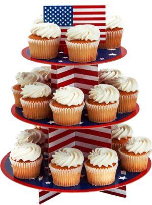 Patriotic American Flag Cupcake Stand