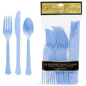 Pastel Blue Premium Plastic Cutlery Set 24ct