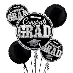 Silver Balloon Bouquet 5pc - Congrats Grad