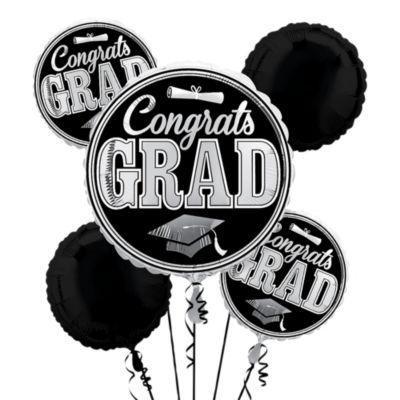 Silver Balloon Bouquet 5pc - Congrats Grad