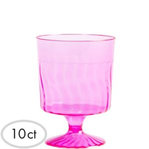 Mini Bright Pink Plastic Pedestal Cups 10ct