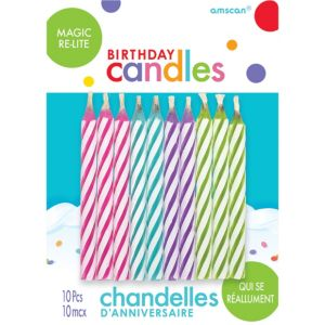 Multicolor Bright Magic Re-Lite Spiral Birthday Candles 10ct