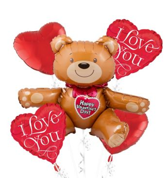Love Bears Valentines Day Balloon Bouquet 5pc