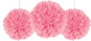 Rounded Pink Fluffy Decorations 3ct