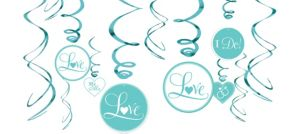 Robin's Egg Blue Wedding Swirl Decorations 12ct