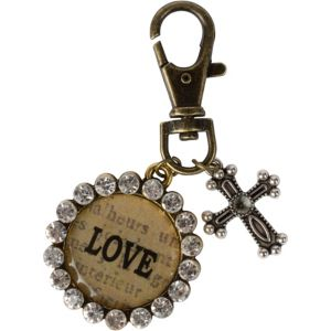 Vintage Love Cross Key Chain