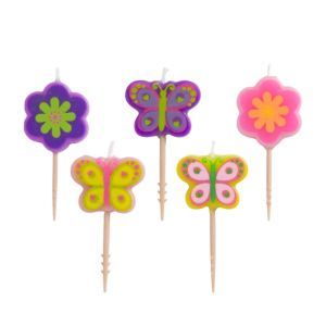 Flower & Butterfly Birthday Toothpick Candles 5ct
