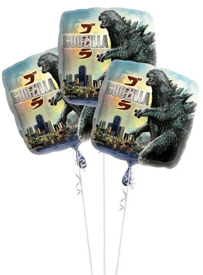 Foil Godzilla Balloon 17in 3ct