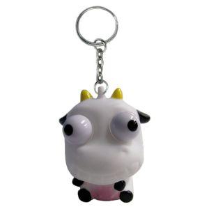 Eye Pop Squeeze Cow Keychain