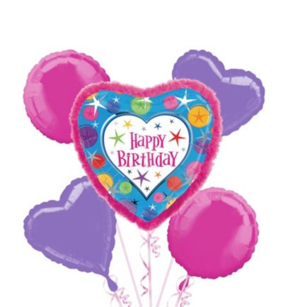 Happy Birthday Balloon Bouquet 5pc - Boa Heart