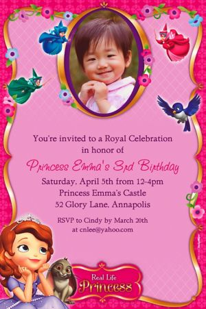Custom Sofia the First Photo Invitations
