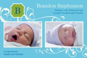 Custom Filigree and Monogram Boy Photo Announcement