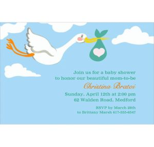 Custom Stork and Baby Bundle Invitations