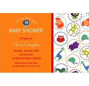 Custom Jungle Animal Polka Dots Invitations