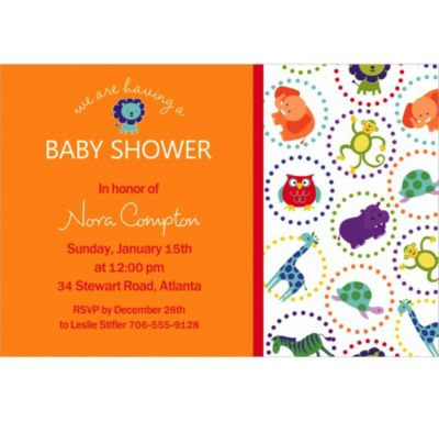 Jungle Animal Polka Dots Custom Invitation