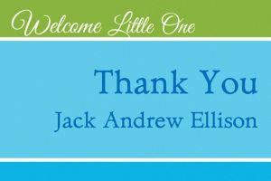 Custom Welcoming Words Boy Thank You Note