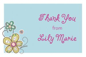 Custom Baby Block Floral Thank You Note