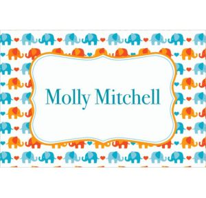 Custom Baby Elephant Pattern Boy Thank You Notes