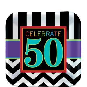 Celebrate 50th Birthday Dessert Plates 8ct