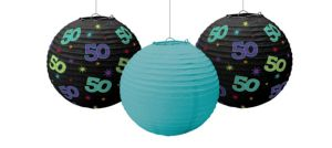 The Party Continues 50th Birthday Paper Lanterns 3ct