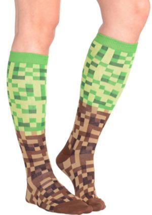 Green and Brown Pixel Knee-High Socks