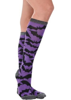 Purple Bat Knee-High Socks