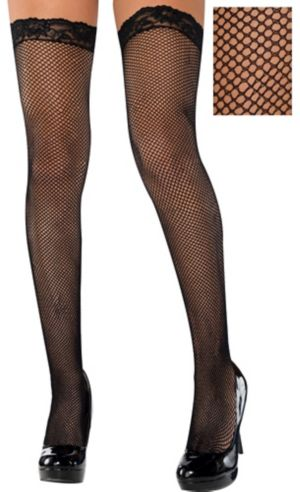 Adult Black Fishnet Thigh-High Stockings with Lace Top
