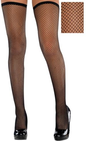Adult Classic Black Fishnet Thigh-High Stockings