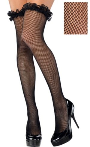 Adult Ruffle Fishnet Thigh-High Stockings