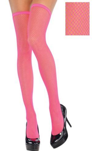 Neon Pink Thigh-High Fishnet Stockings