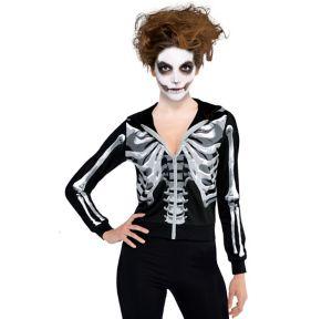 Adult Black & Bone Cropped Hoodie - Skeleton