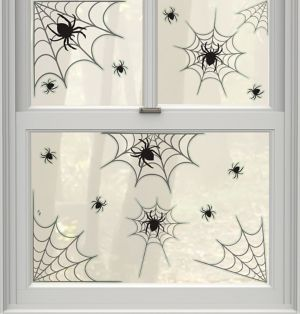 Spider Webs Cling Decals 14ct
