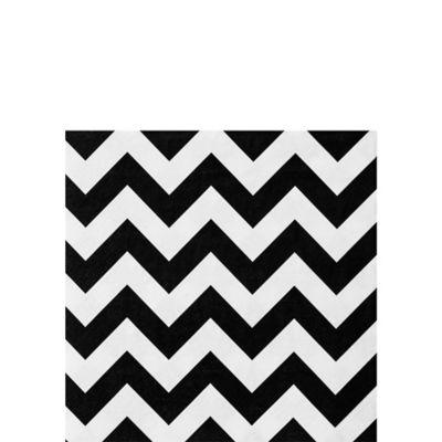 Black & White Chevron Beverage Napkins 36ct