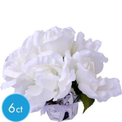White Roses in Foil Pots 6ct