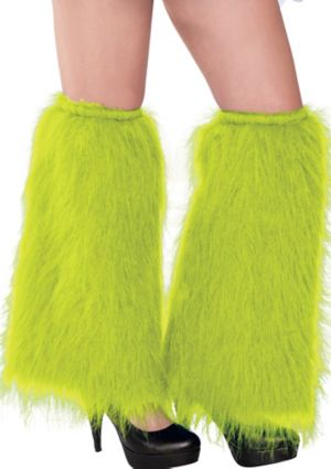 Black Light Neon Green Furry Leg Warmers