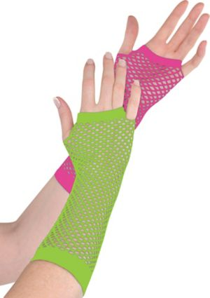 Long Black Light Neon Fishnet Gloves Deluxe