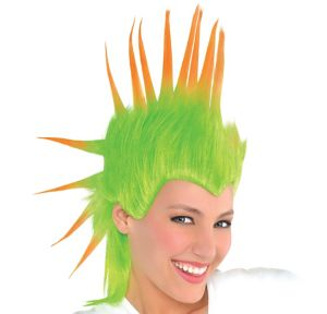 Black Light Neon Green & Orange Mohawk Wig