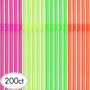 Neon Flexible Straws 200ct