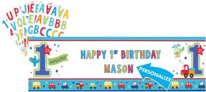 All Aboard 1st Birthday Personalized Banner
