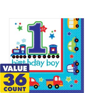 All Aboard 1st Birthday Lunch Napkins 36ct