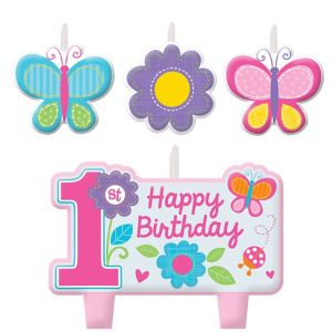 Flower & Butterfly 1st Birthday Candles 4ct