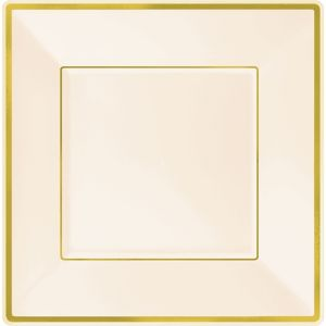 Cream Gold Trimmed Premium Square Dinner Plates 8ct