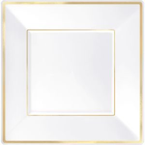 White Gold-Trimmed Premium Plastic Square Dinner Plates 8ct