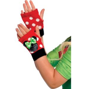 Child Holiday Minnie Mouse Fingerless Gloves
