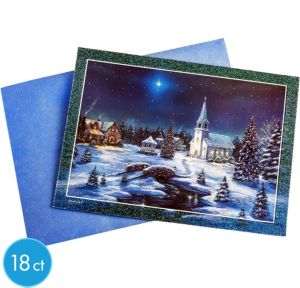 Winter Church Greeting Cards 18ct