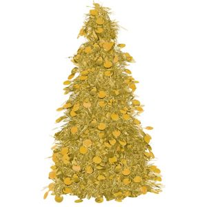 3D Gold Tinsel Christmas Tree